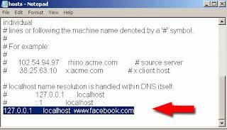 block facebook site in hosts file windows 7