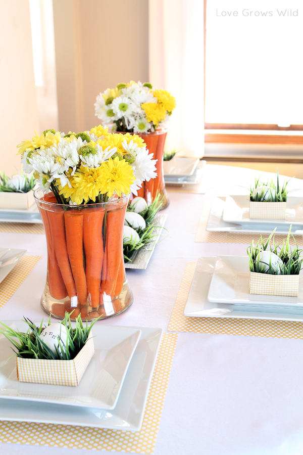 spring inspired easter tablescape and carrot centerpiece. Black Bedroom Furniture Sets. Home Design Ideas