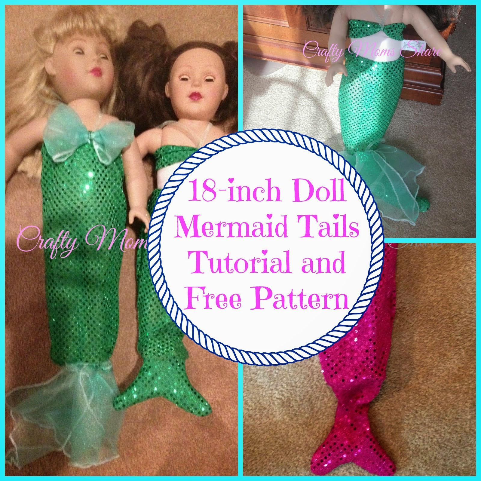Crafty Moms Share Diy Mermaid Tail For An 18 Inch Doll With Free