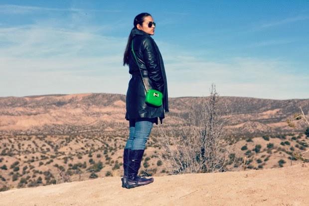 Taos Pueblo, New Mexico, Hobbs Jacket, Gucci Scarf, Michael Kors bag, Ecco boots, Miss Sixty Jeans, Tanvii.com