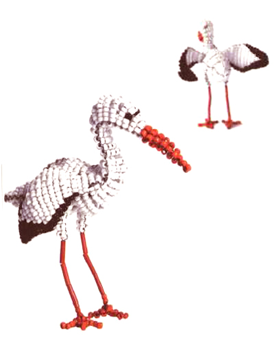 Птица аист из бисера