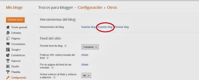 copia de seguridad del blogger