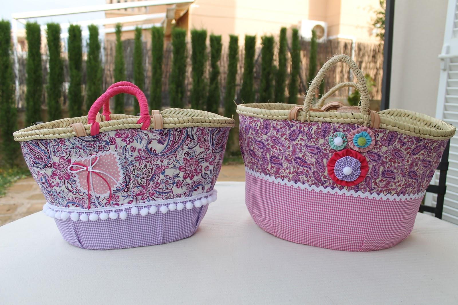 Elcosturerodecarla capazo de playa decorado - Como adornar una cesta de mimbre ...