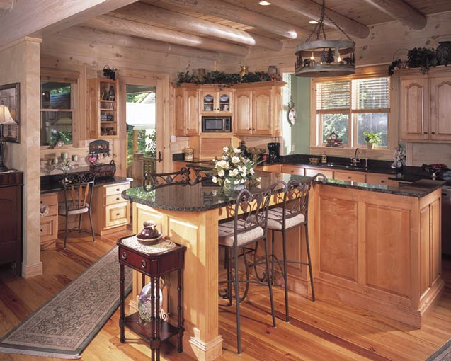 Log cabin house design pictures best home decoration for Home kitchen design