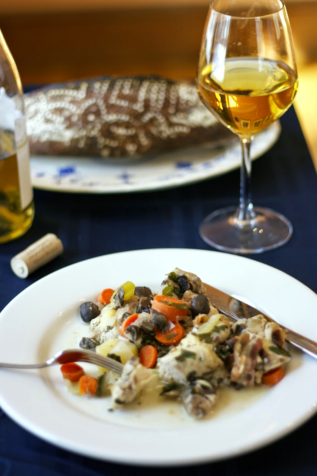 Slow Cooker Coq au Vin Blanc.... A classic French dinner with so little work. http://www.simplelivingeating.com/2015/03/slow-cooker-coq-au-vin-blanc.html