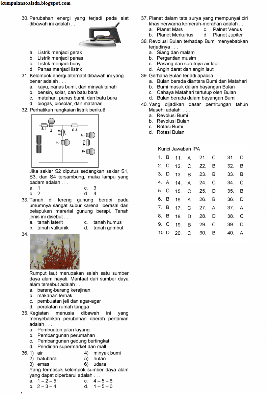 Bank Soal UN IPA 6 SD Kunci Ujian Sekolah 2013-2014
