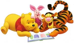 Pooh Tigger y Puerquito leyendo