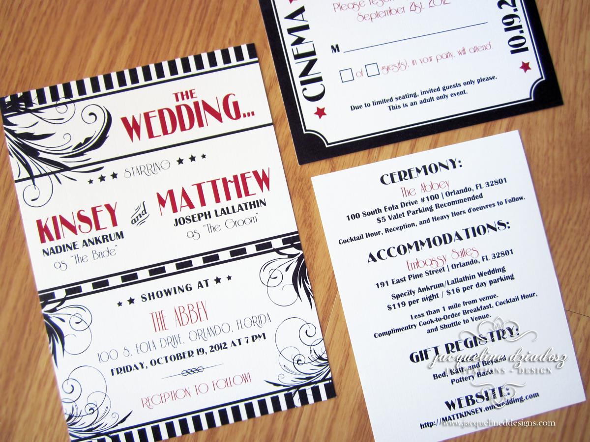 Kinsey Matthews Old Hollywood Wedding Invitations Jacqueline