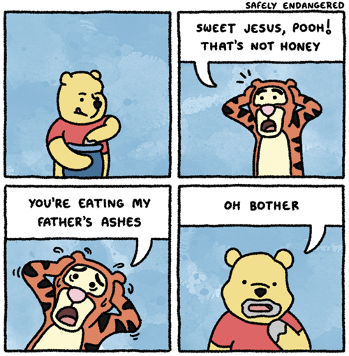 winnie pooh bear and tigger eating fathers ashes funny cartoon