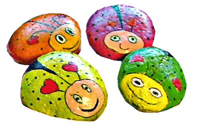 painted rocks, love bugs