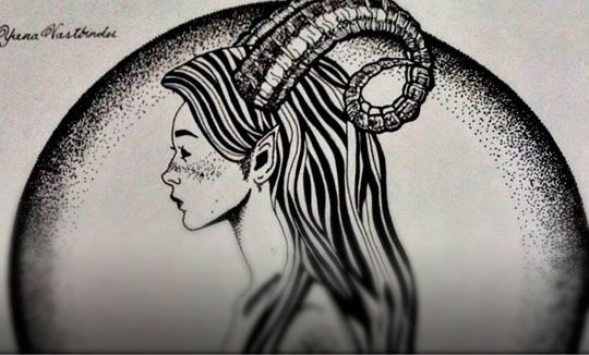 Ilustración, Mujer sátiro de Yrena Vastbinder
