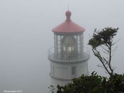 Heceta Head Lighthouse in the fog
