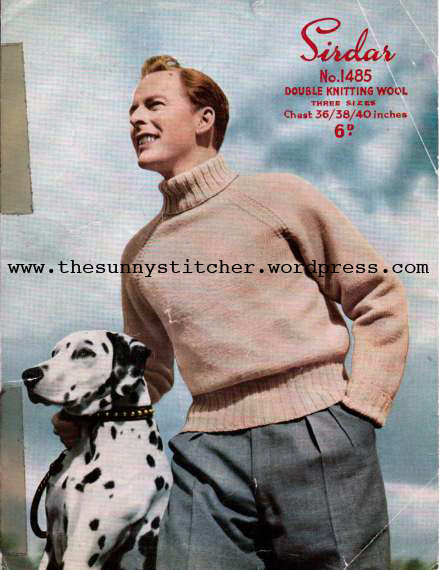 The Vintage Pattern Files: 1950s Knitting - Mens Roll Neck Jumper