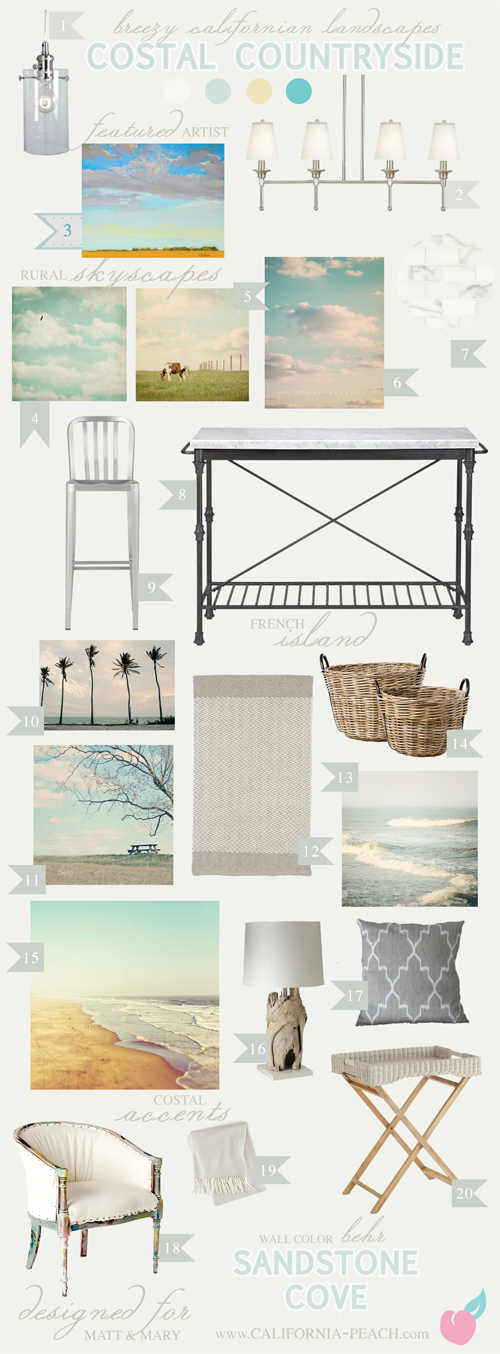 Coastal Countryside || on California Peach || Dining Room Living Room Combo Interior Design Style Board