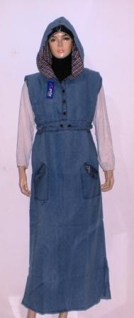 Gamis jeans santai gj1010 grosir baju muslim murah tanah Baju gamis santai