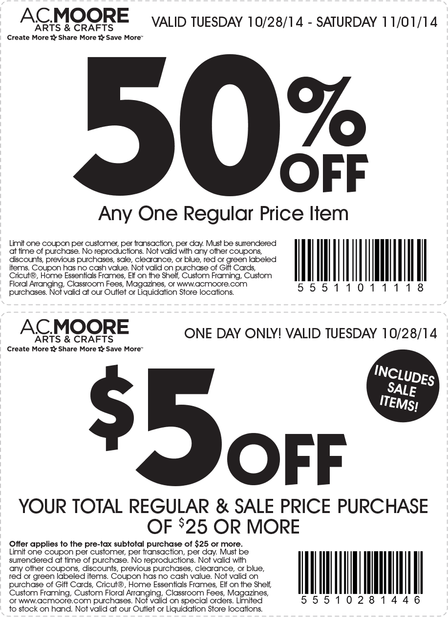 Craft yourself some deals on art supplies and hobby materials with AC Moore promo codes. The East Coast craft-store chain has plenty of project ideas to spark your imagination and a rewards program to save you money on supplies.