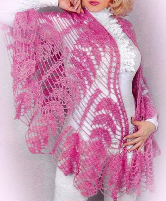 Crochet Shawl Pattern : Crochet Shawls: Crochet Shawl - Beautiful Semicircular Shawl