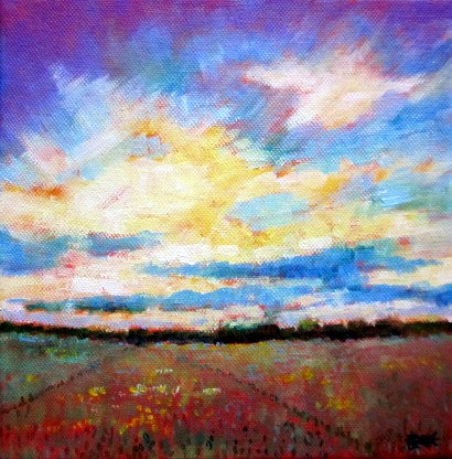 big sky painting, autumn fields, acrylic painting on canvas, art for sale,