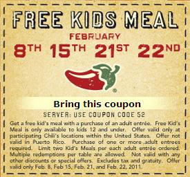 free kids meals at chilis on monday tuesday printable coupon