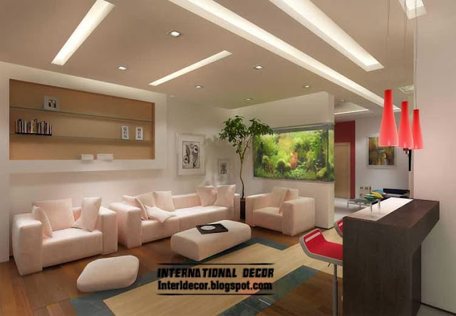 Top 10 suspended ceiling tiles designs and lighting for for Living room designs 2014