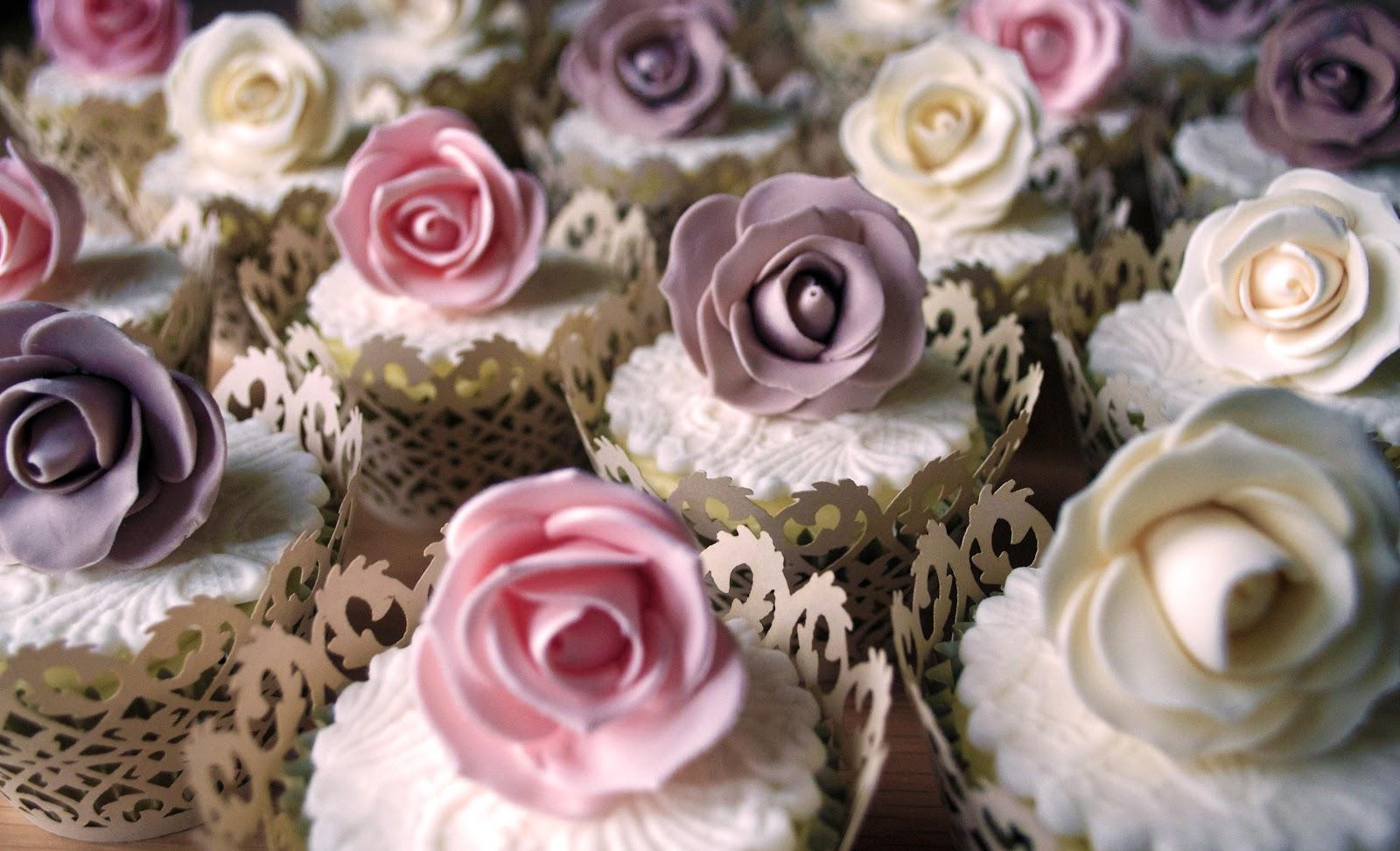 Vintage Rose & Lace Cupcake Tower