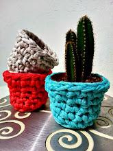 Cestos de trapillo para cactus ordenador