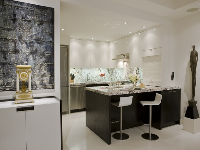 Photo of black and white designed interiors of kitchen