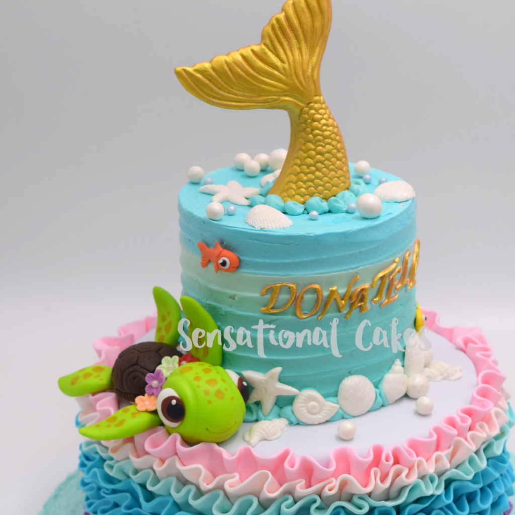 The Sensational Cakes 2 Tier Mermaid Tail And Turtle Design In