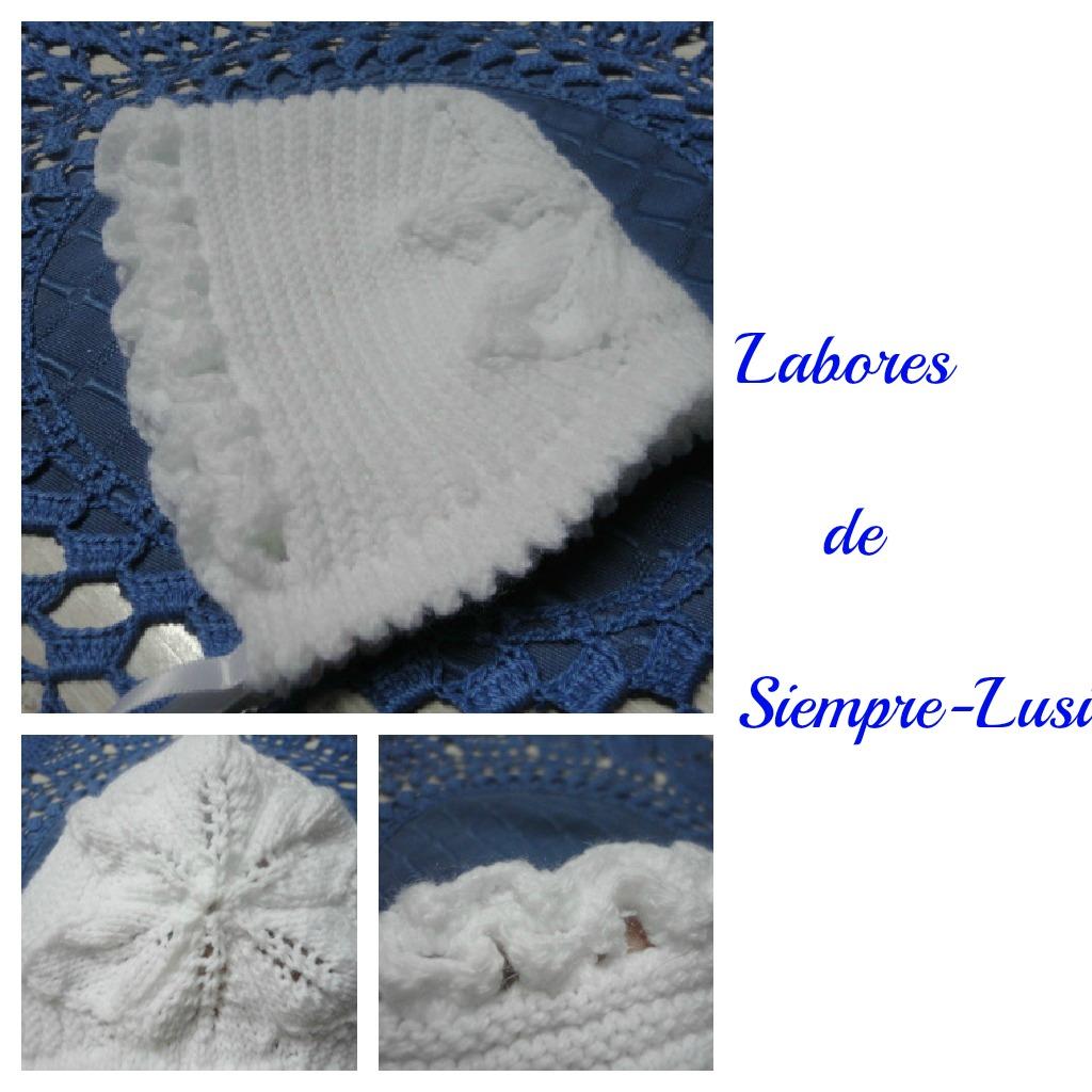Labores de siempre gorrito beb patucos en punto rayado - Labores de punto de lana ...