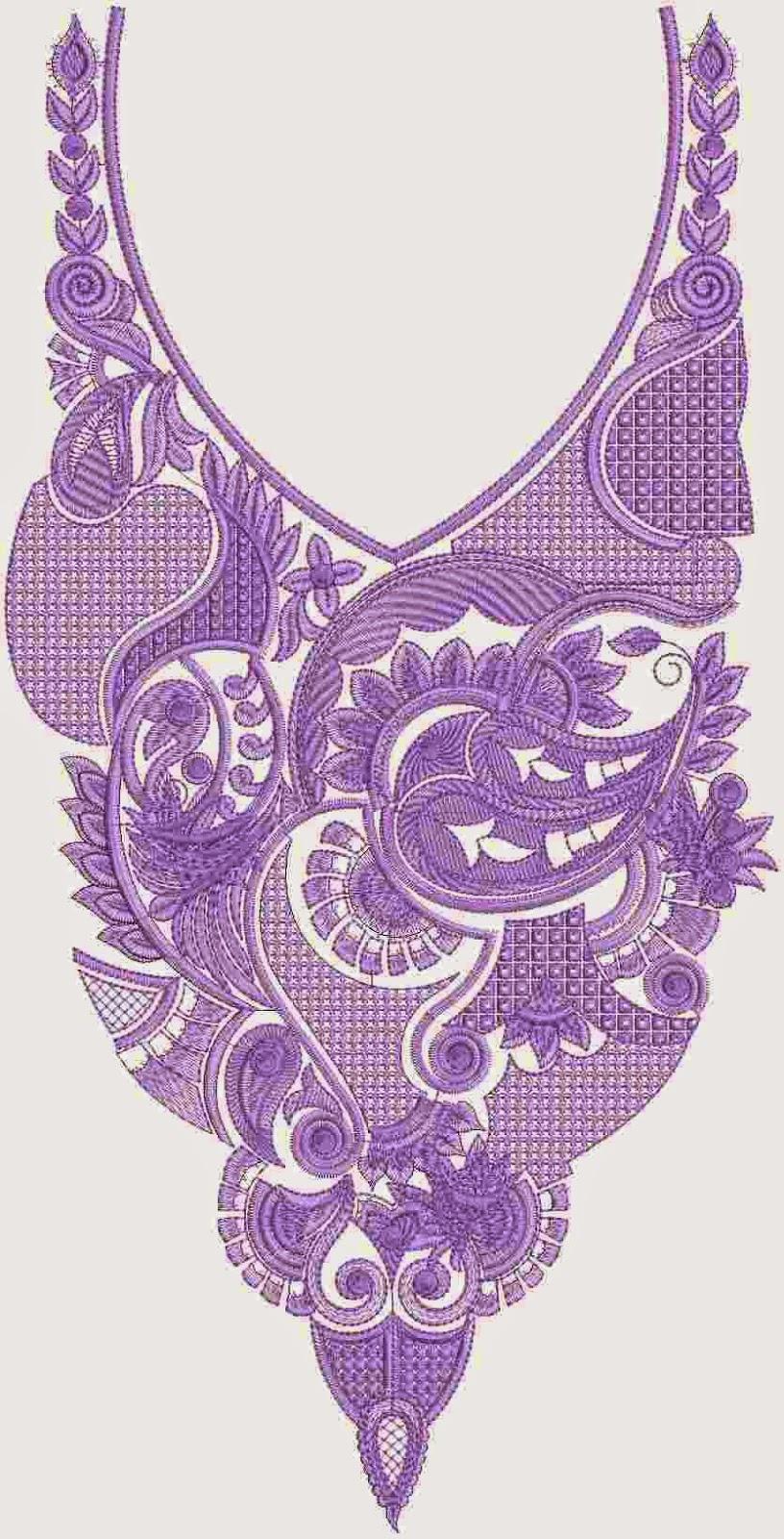 hekel met borduurwerk paisley nek ontwerp