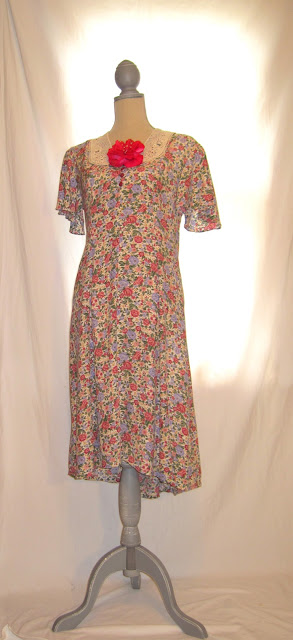 Hand Embellished Up-Cycled Vintage 80s Dress, Floral Pattern Pleasant Country Women's Dress