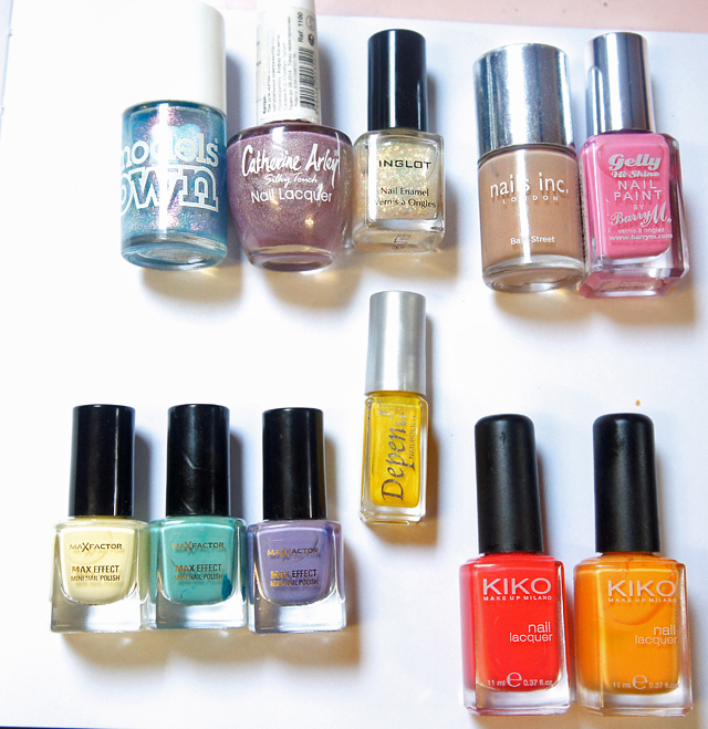Summer and spring bright and pastel nail varnish, nail polish, nail laquer