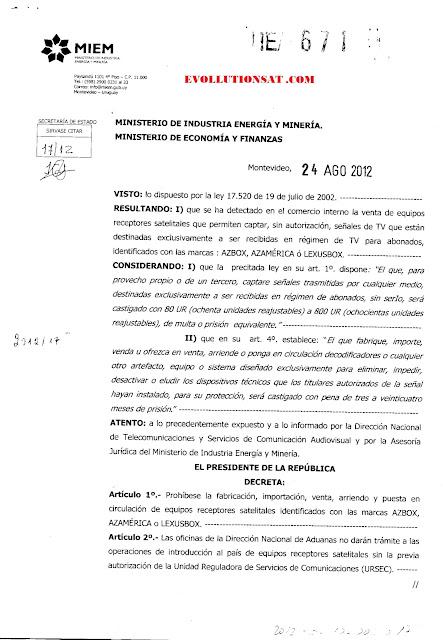 Proibido a venda e importação de Az-box, Az-america e Lexus-box no Uruguay por decreto 132