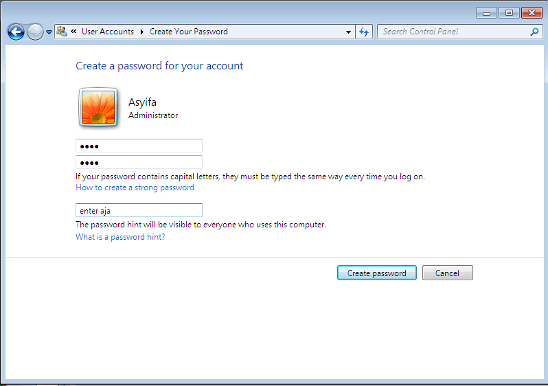 cara membuat password windows