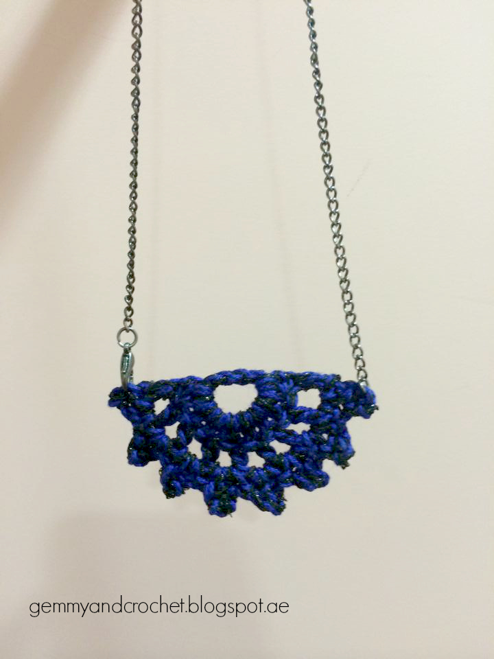 crochet Half moon pendant, half moon necklace, crochet pendant