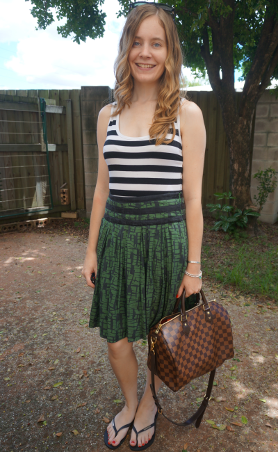 pattern mixing striped tank printed green skirt outfit