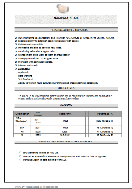 free download mba marketing fresher resume sample doc - Sample Resume For Bcom Computers Freshers