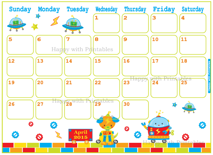 cute planner, planner for kids, printable planner, DIY planner, planner in toy robots theme, printable april planner