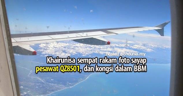 Khairunnisa sempat kongsi foto sayap pesawat QZ8501 sebelum nahas