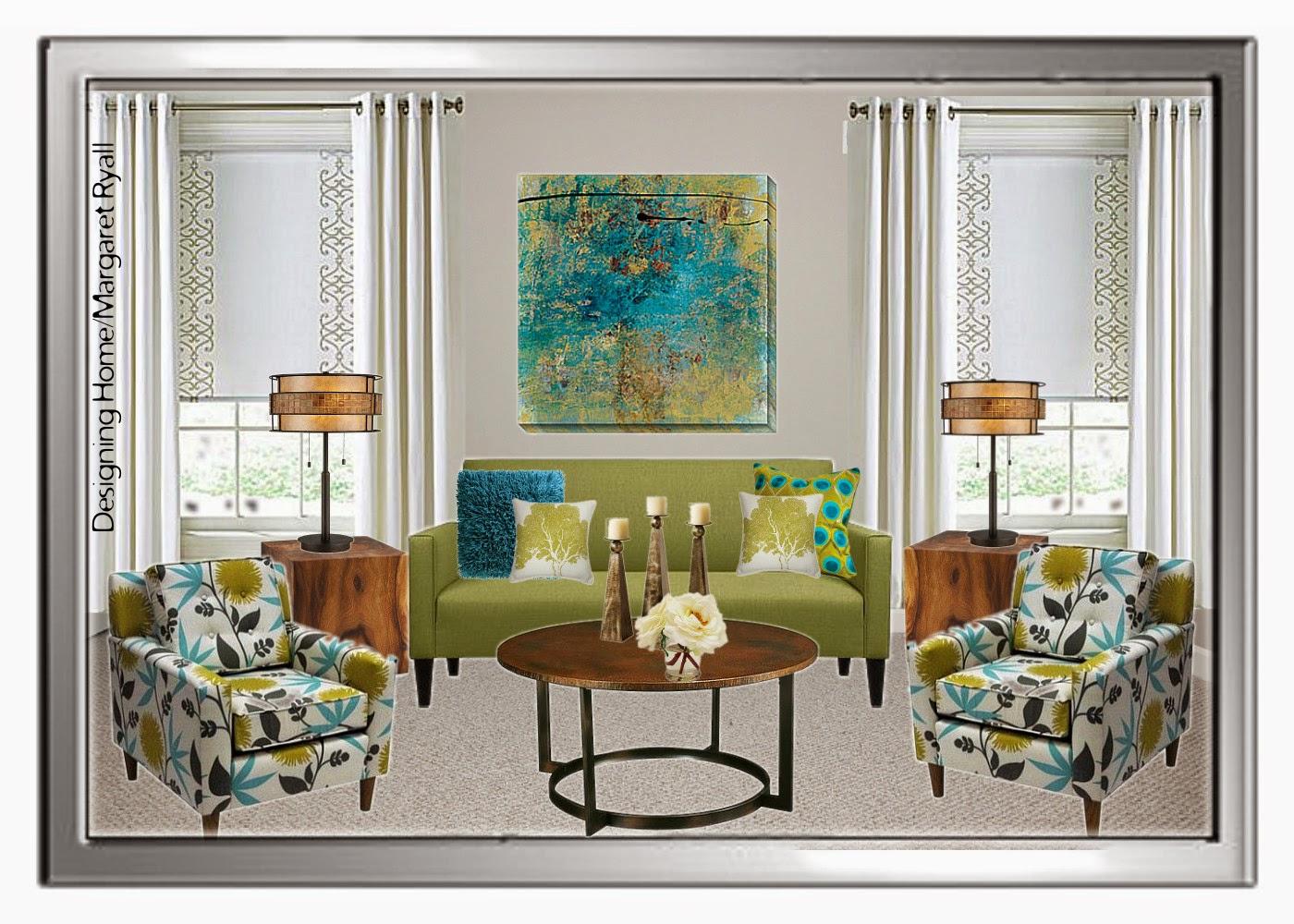 fresh living room scheme, fresh green, turquoise