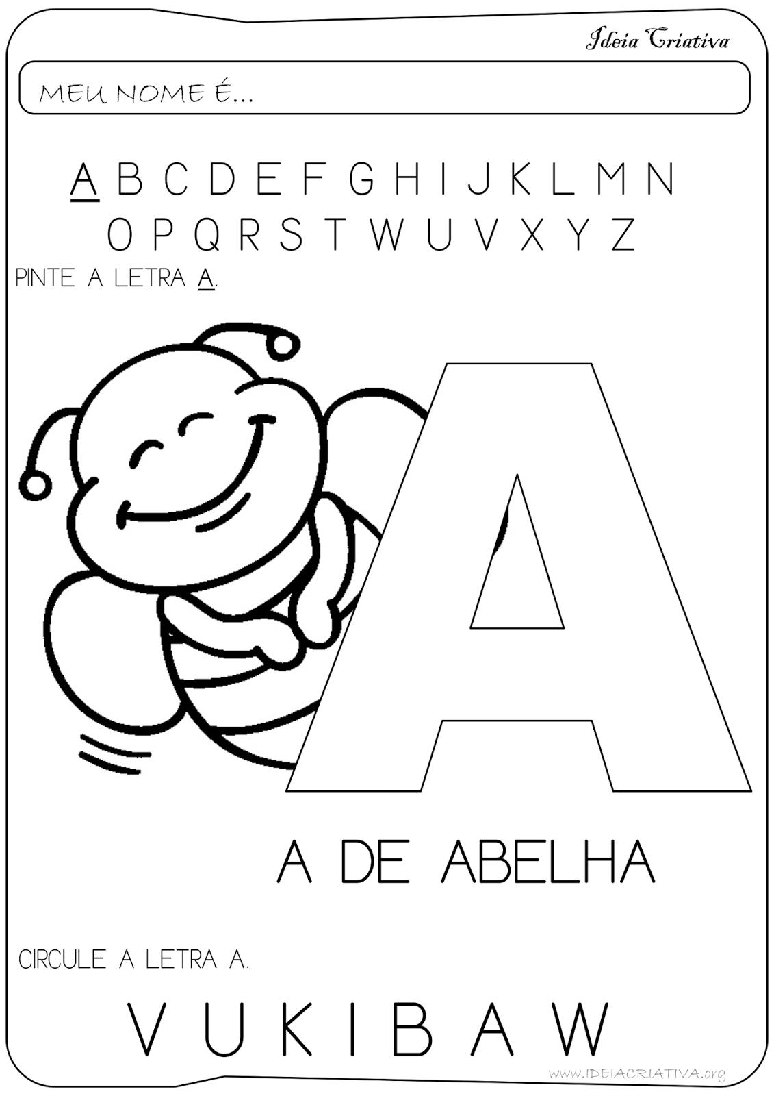 Atividade Letra A Educação Infantil