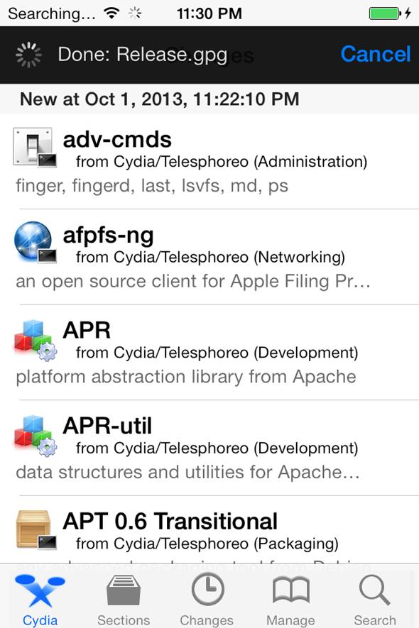 Cydia on IOS 7 Jailbreak