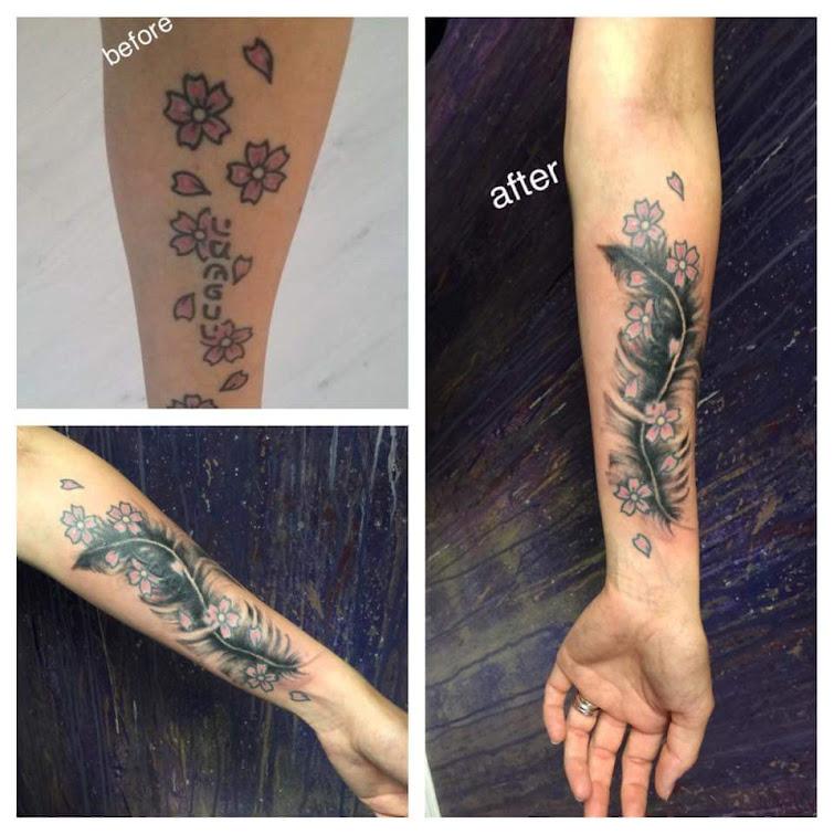 lindarte tattoo coverup tattpp feather tattoo