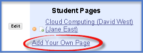 Student Pages with Add Your Own Page link