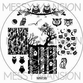 Lacquer Lockdown - Messy Mansion, stamping, new stamping plates 2014, new image plates 2014, new nail art plates 2014, pueen 2014, diy nails, nail art, cute nail art, easy nail art, indie plates, , owls, forests, night time, owl nails, owl nailart
