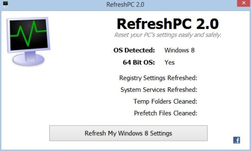 RefreshPC works on Windows XP, Windows Vista, Windows 7 and Windows 8