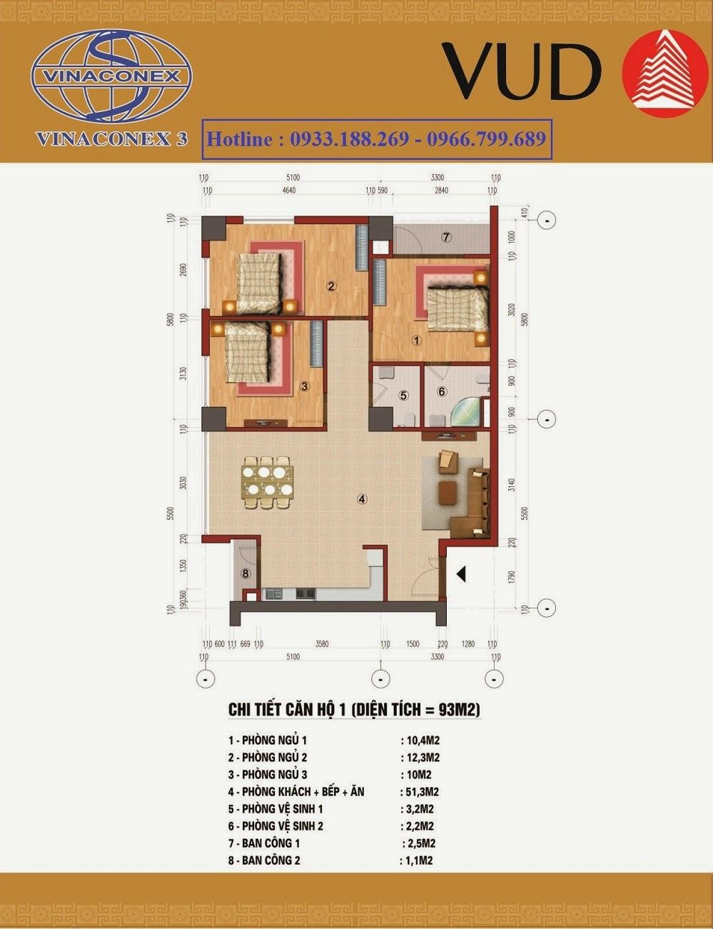căn 93m2, Chung cư CT1 Trung Văn - Vinaconex3
