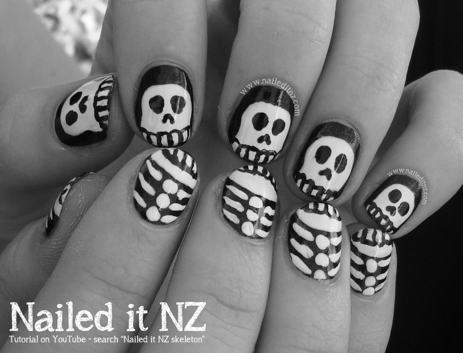 Nailed It NZ - Halloween Skeletons - Nail Art Tutorial