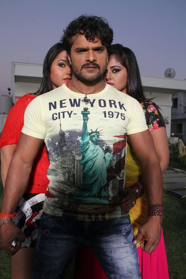 Khesari Lal Yadav, Anjana Singh, Kajal Raghwani Shooting stills of Bhojpuri Movie Dabang Aashiq