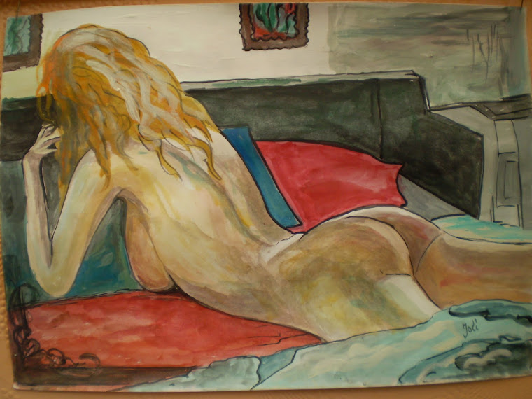 NUDE &blue pilow, watercolor, signed Joli, A4